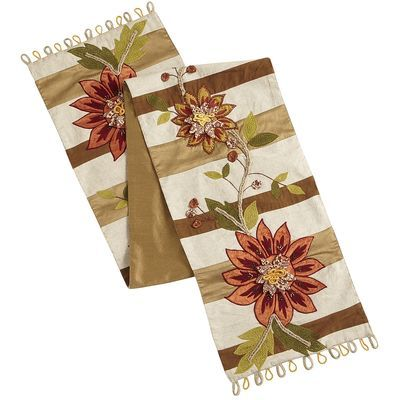Create a truly elegant table with our extra-long embroidered and appliqued table runner. The paneled motif, in shades of bronze, gold and green, forms a perfect canvas to highlight the showy crimson blooms, while the solid bronze backing provides added body for draping. This is a sure bet to make a big impression.