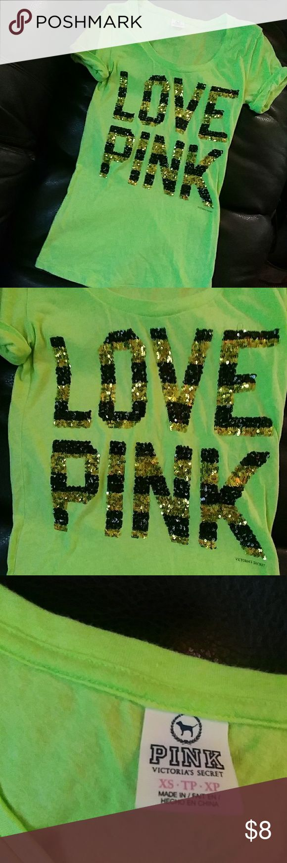 """XS Victoria's Secret PINK lime ss t-shirt Sparkled sequence of black and gold and lime green scoop neck shirt marked extra small for tall Gal.  28"""" bust.  25"""" long. Victoria's Secret Pink Tops Tees - Short Sleeve"""