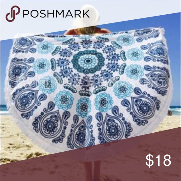 Polyester beach throw! Round boho beach towel/mat. Good for decoration, poolside, beach mat, festivals, concerts, etc.. Material is polyester (bathing suit type material) Size is: 56 inches in diameter. Thickness: Thinner .... Very cute though and in style right now!! Sea and Sky Yoga Accessories