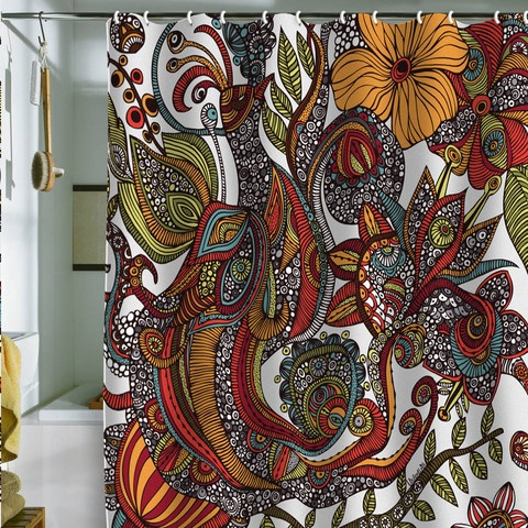 Valentina Ramos Paradise Bird shower curtain. A SHOWER CURTAIN. I may never leave the bathroom. Via denydesigns.com.