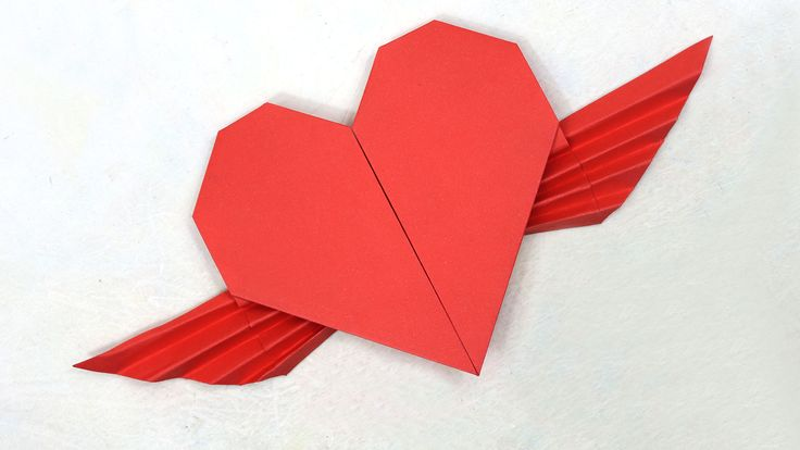 How To Make Paper Heart With Wings Origami Winged Heart For Valentine S Day Easy Origami Heart Origami Heart With Wings Origami Easy