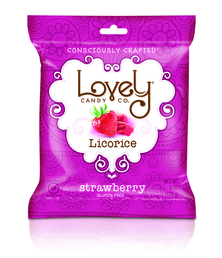 The new gluten free licorice line is now available on our website! Check out the Strawberry! So good! #livelifelovely www.lovelycandyco.com