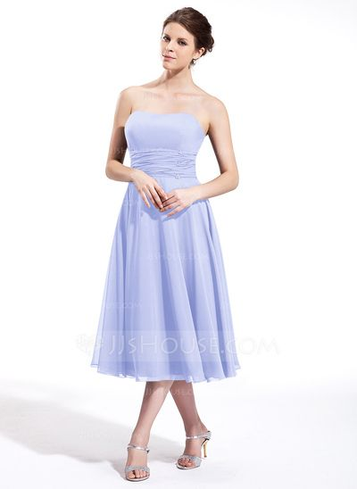 Empire Sweetheart Tea-Length Chiffon Bridesmaid Dress With Ruffle Beading (007026270)