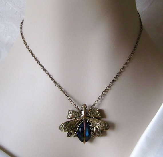Sapphire blue Victorian style dragonfly necklace