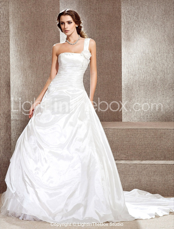 A-line One Shoulder Cathedral Train Taffeta Wedding Dress - EUR € 230.99