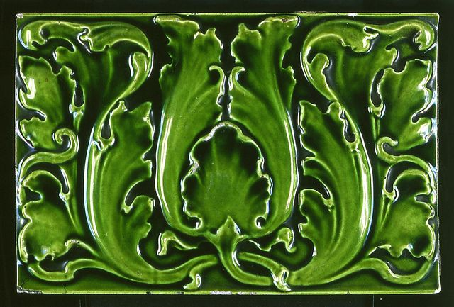 London Underground 'acanthus leaf' ceramic tile from 1906/07 tube stations by mikeyashworth, via Flickr