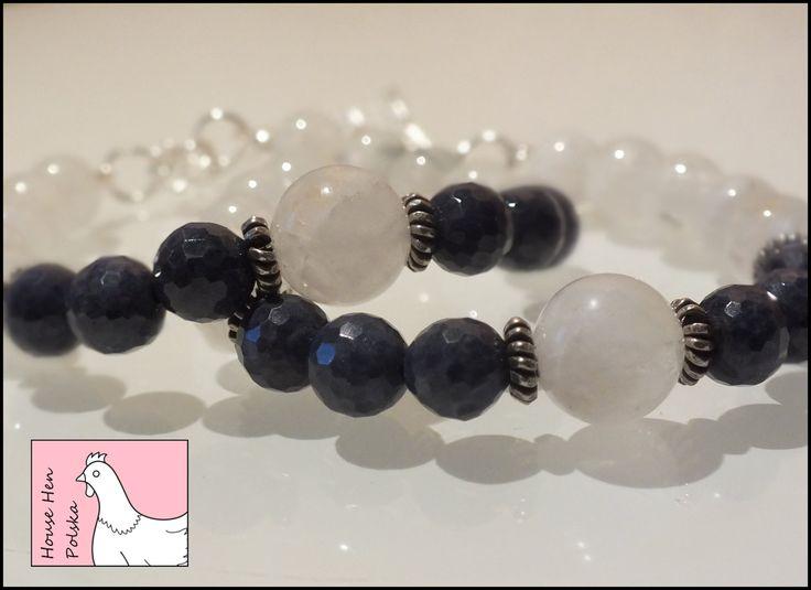 "Moonstone-Sapphire Bracelet  ""Moon Reminisce"" by HouseHenPolska on Etsy"