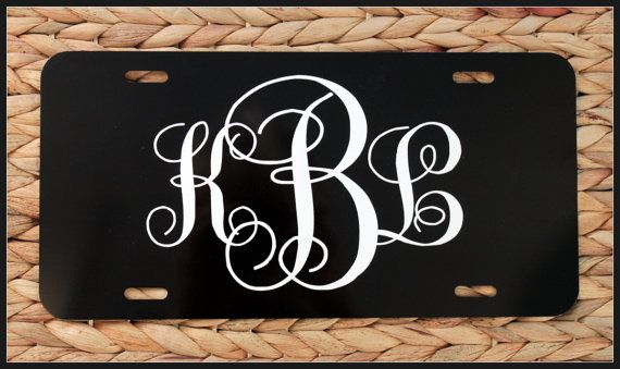 Unique Gift Monogrammed License Plate Personalized Initials Car Tag Bike Plate Vanity Front Frame Custom
