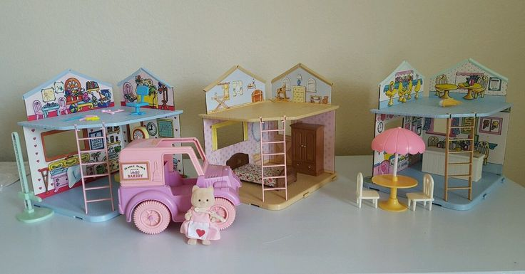 Lot of 3 Maple Town Play Rooms Hospital Bedroom Ice Cream Shop Bakery Truck Cat | eBay
