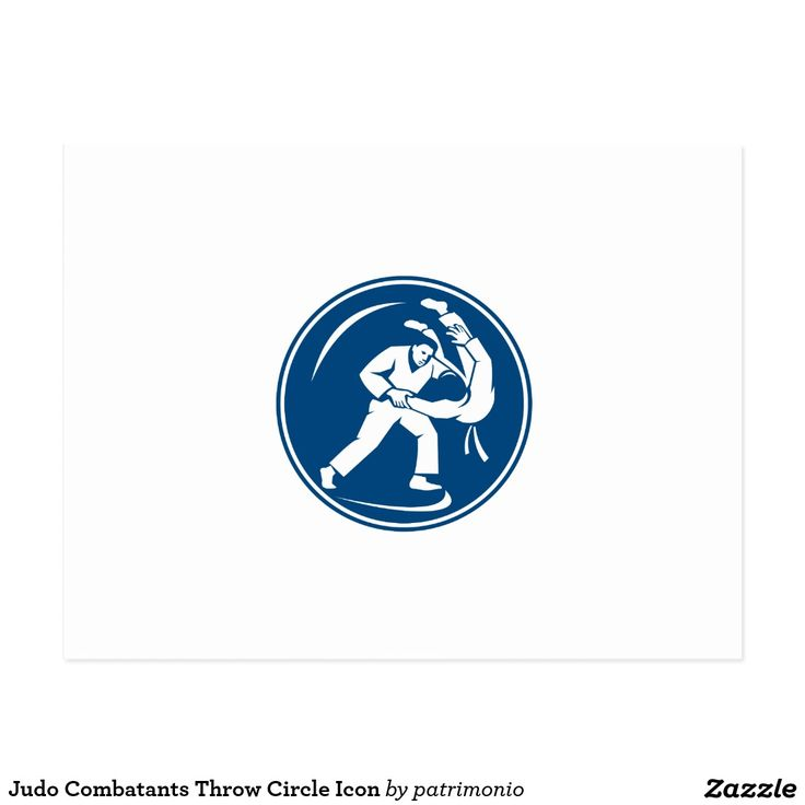 Judo Combatants Throw Circle Icon Postcard. Icon illustration of judo combatants throw takedown set inside circle on isolated background done in retro style. #judo #olympics #sports #summergames #rio2016 #olympics2016