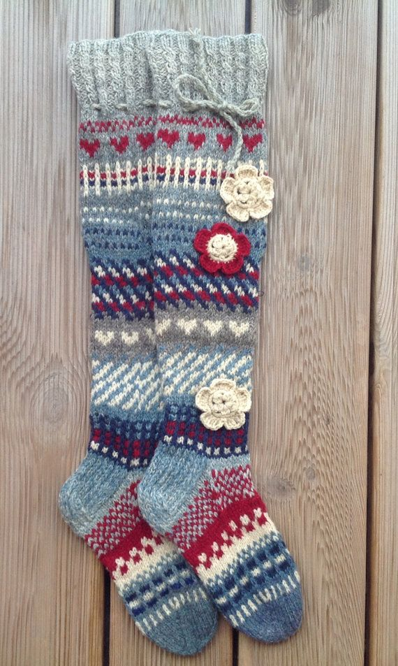 Wool socks Hand knit Knee high socks Over the knee by KnotByKnott