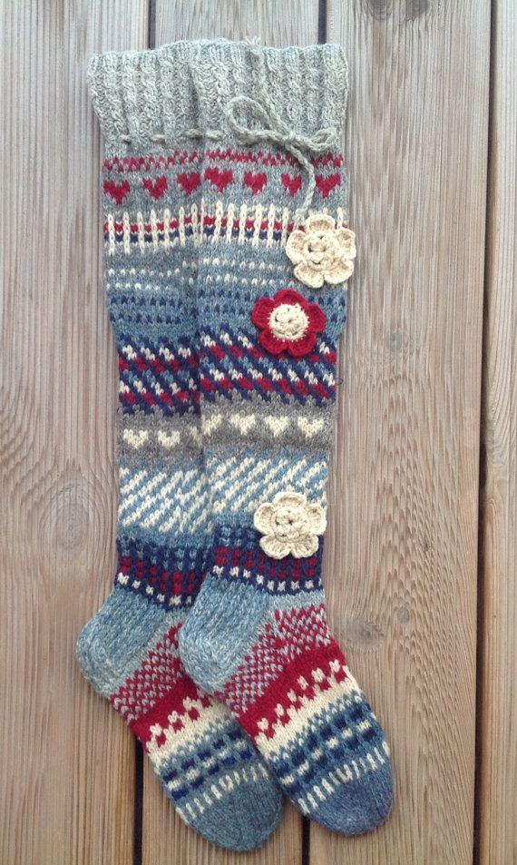 Wool socks Hand knit Knee high socks Over the knee by KnotByKnott