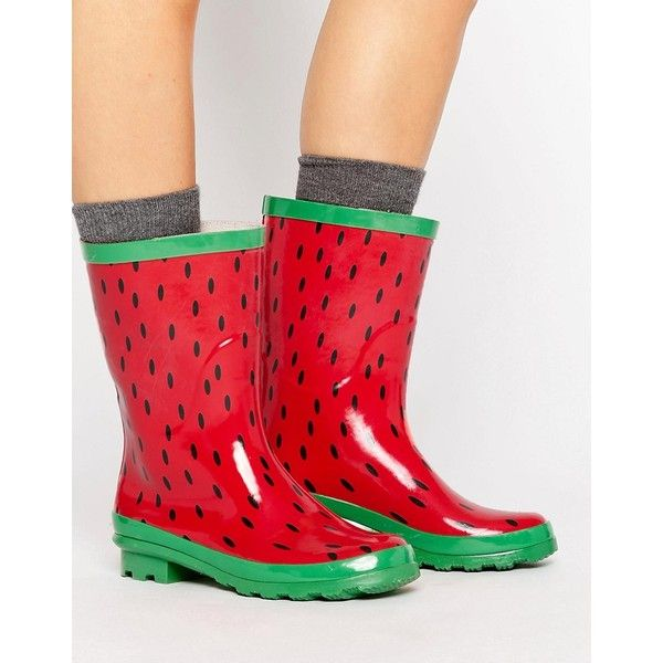 ASOS GIANT Watermelon Gumboots ($30) ❤ liked on Polyvore featuring shoes, red, going out shoes, prom shoes, red shoes, round toe shoes and red slip on shoes