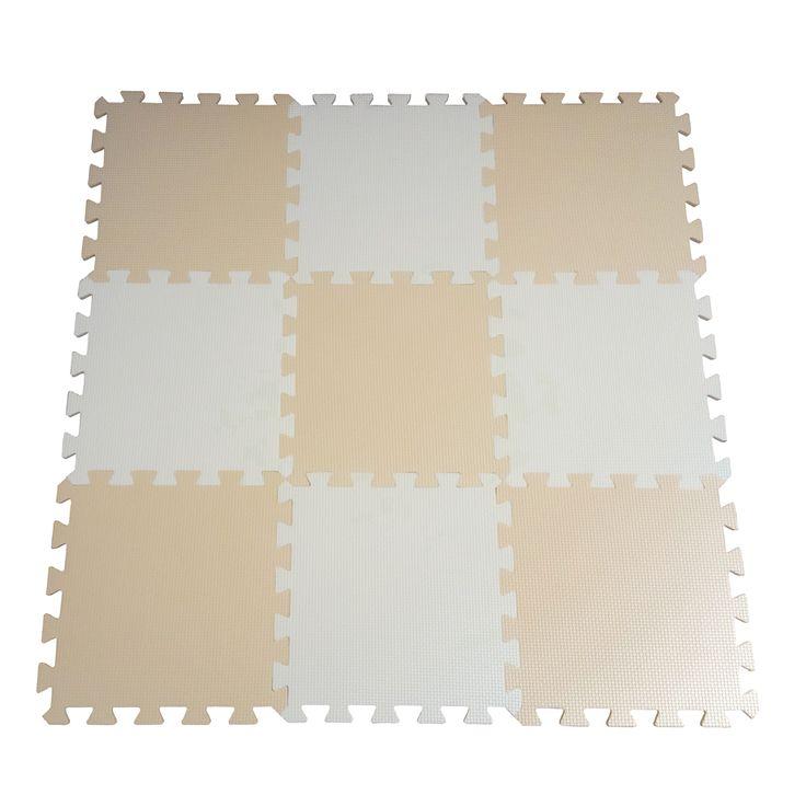 9pcs Soft EVA Foam Baby Children Kids Play Mat Beige White Color Puzzle Mats Floor Jigsaw Mats 31.5 x 31.5 x 1cm for Unisex