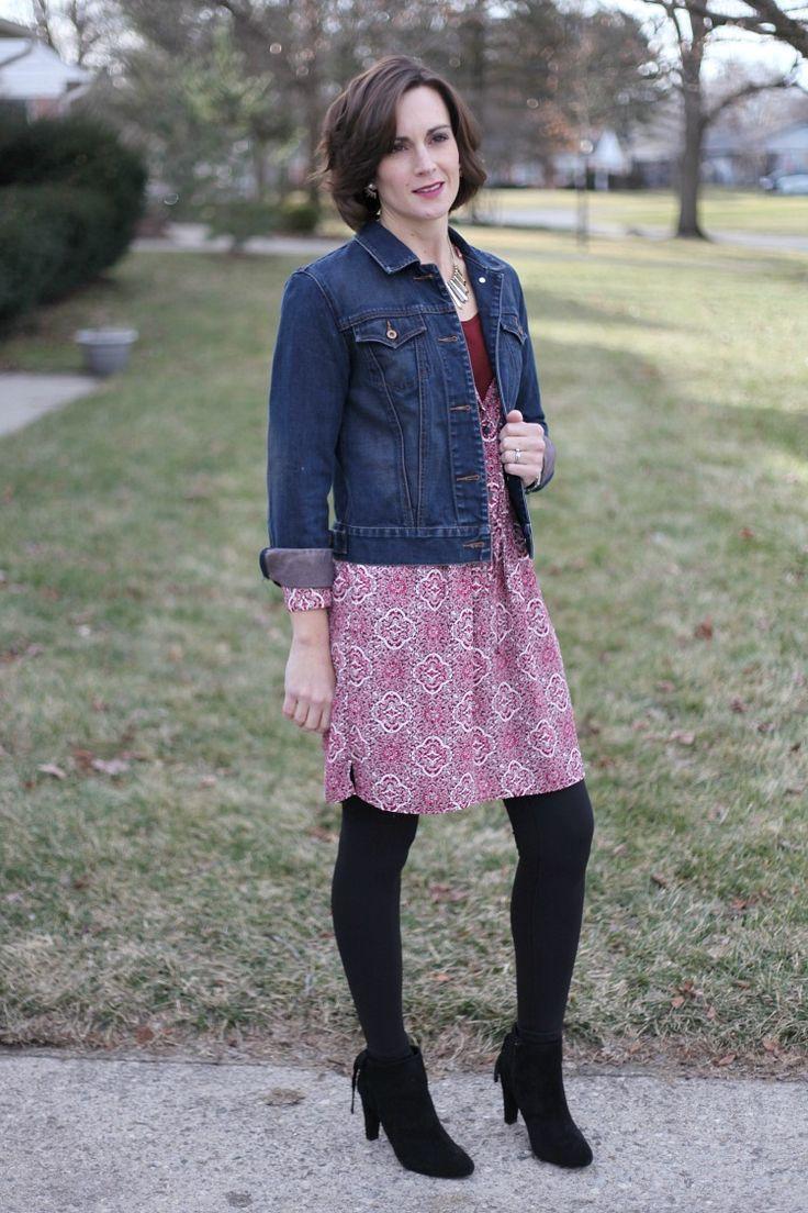 casual valentines day dress - paisley print dress - denim jacket - black ankle boots