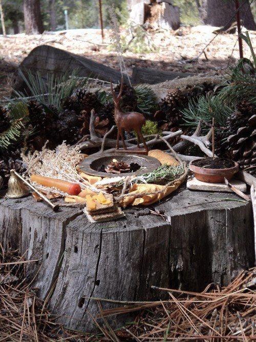 Tree stump altar, I love it!