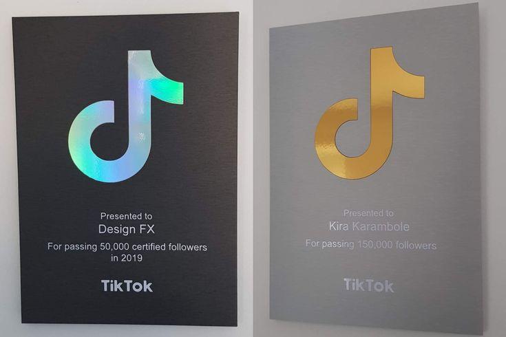 Custom Designed Personalized Tiktok Follower Milestone Award Plaque New Holographic Version 2020 In 2021 Award Plaque Plaque How To Get Followers