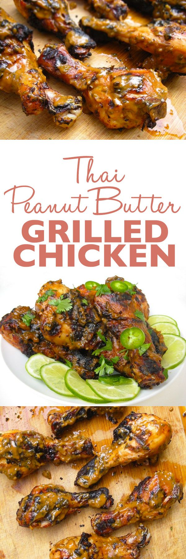 Thai Peanut Butter Grilled Chicken Recipe - Chicken drumsticks are seasoned with a Thai peanut butter marinade, grilled, and then finished with a thick, slightly sweet sauce.