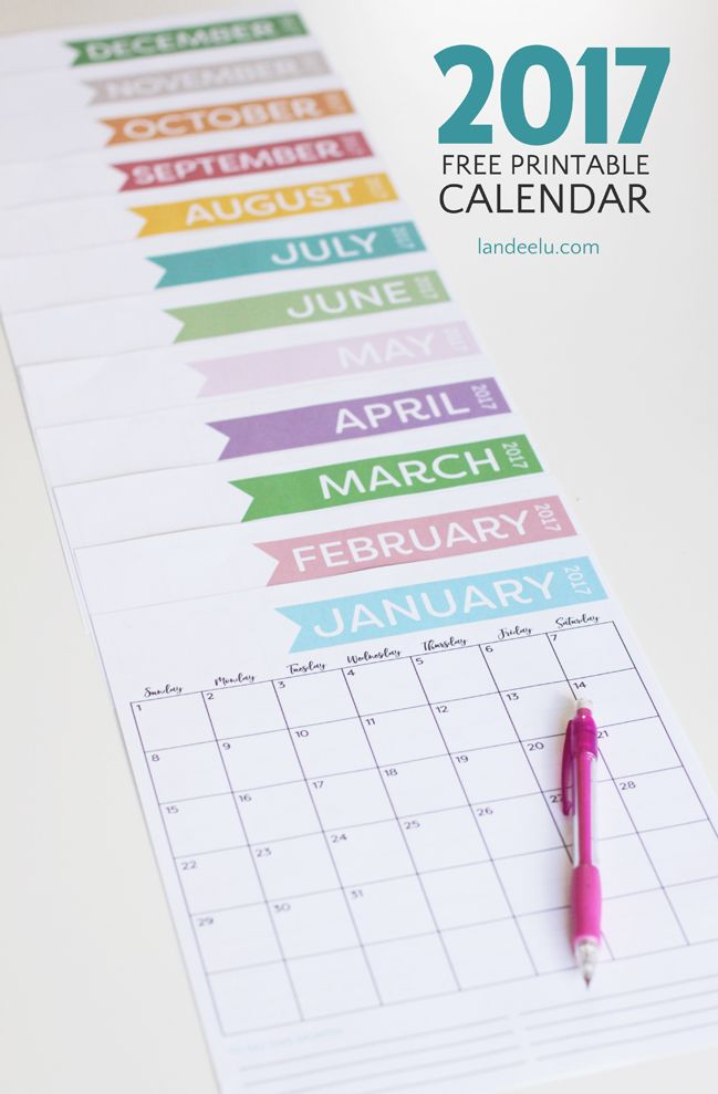 calendario mensile 2017- Download this printer ink-friendly and cute free printable calendar and get organized in 2017!  Its vertical layout is perfect!