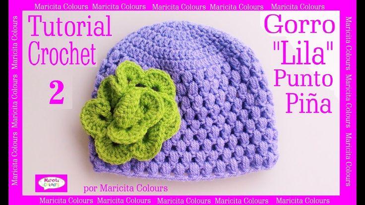 "Gorro  Bebé Punto Puff Crochet ""Lila"" (2)  por Maricita Colours Subtitle..."