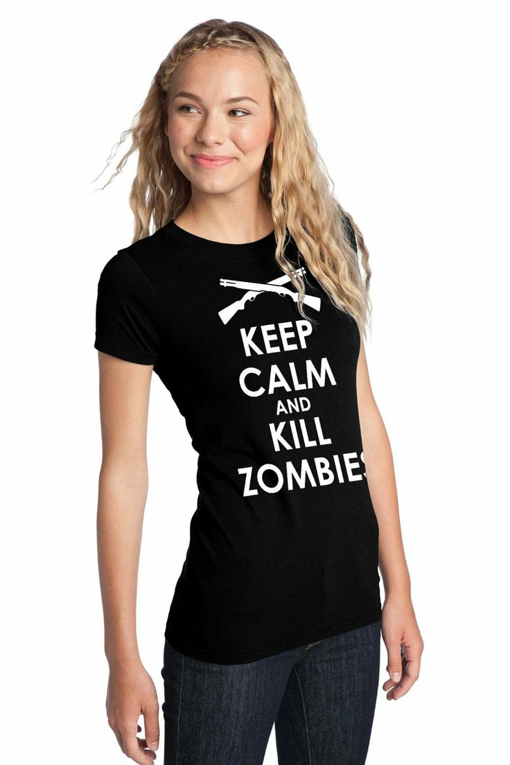 Juniors Keep Calm and Kill Zombies Tee in black