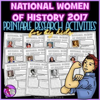 Are you looking for some research activities on the current 2017 inspirational women for National Women of History month in March? Then look no further!This years theme is all about Honoring Trailblazing Women in Labor and Business and there are 13 amazing women who have been selected!Product includes: Rebecca Anderson (1940-Present) Community and Economic Development Organizer Barbara Hackman Franklin (1940-Present) Former Secretary of Commerce Alexis Herman  (1047-Present) Former…
