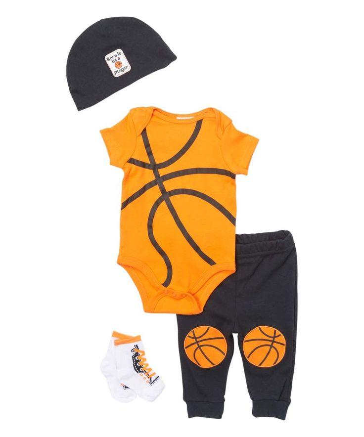 Look at this #zulilyfind! Baby Mode Orange Basketball Bodysuit, Pants, Beanie & Booties - Infant by Baby Mode #zulilyfinds