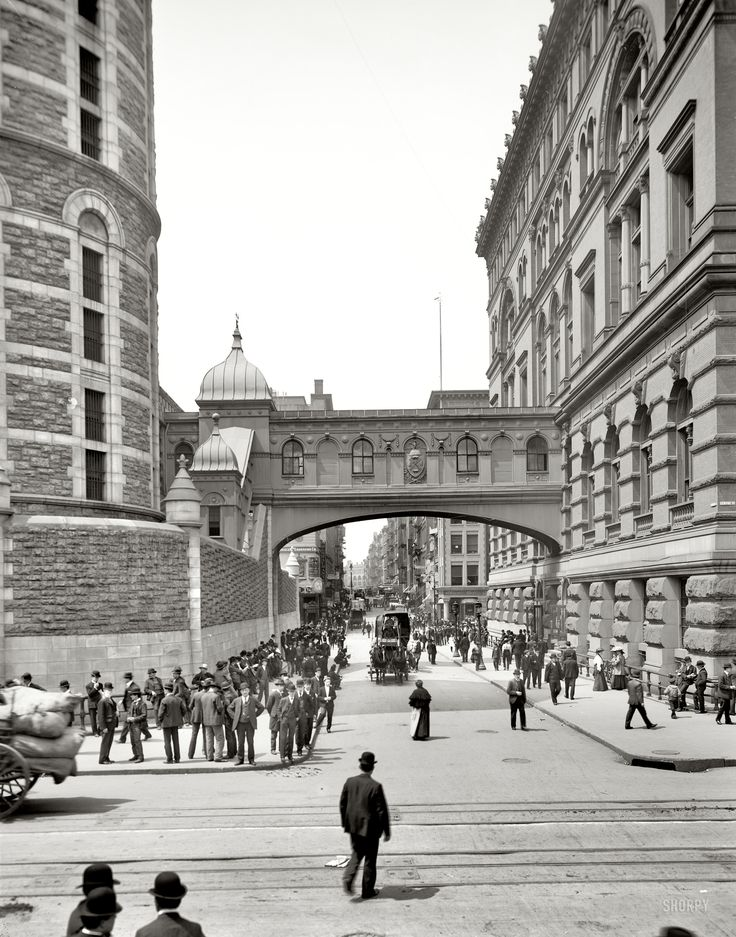 """(c. 1905) """"Bridge of Sighs"""", NYC.  Named after a similar span in Venice, this covered passage connected the Tombs prison and Manhattan Criminal Courts building."""
