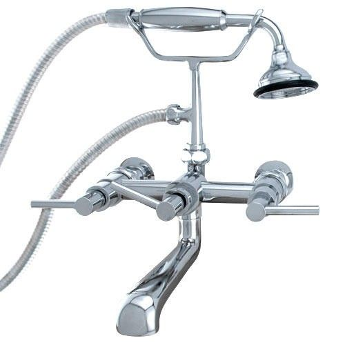 modern wallmount tub faucet with hand shower and wall couplers