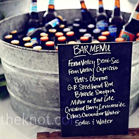 Chalkboard menu for description of drinks and later dinner: Ideas, Tubs, Chalkboards Bar, Drinks Menu, Parties, Chalk Boards, Tins Buckets, Beer Buckets, Bar Menu