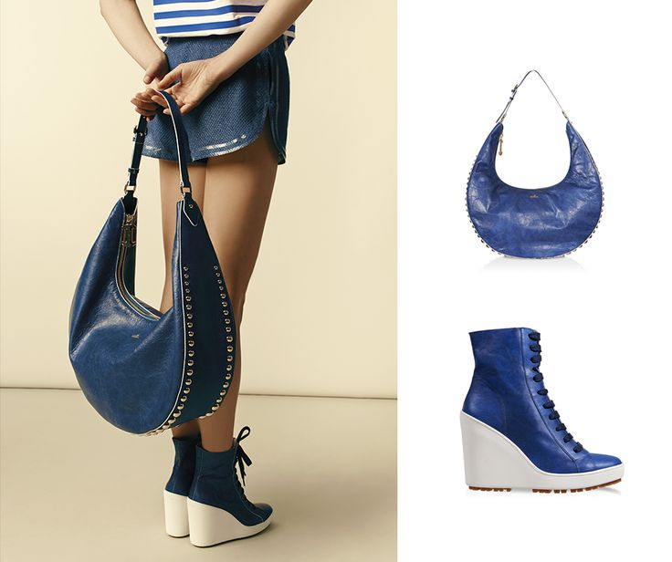 Fresh and retro style from the Women's Spring-Summer 2015 FASHION SHOW. #HOGAN Wedge shoes and Big Hobo bag.