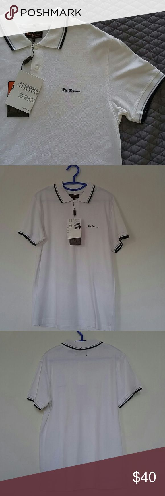 NWT Ben Sherman men's Polo collar shirt NEW Brand: Ben Sherman Size: Large (3) Material: 100% Cotton. Machine Washable This is Brand New with original tags still on it! It has some postcard thing and then the orange ben Sherman tag. Short sleeve. Polo. Collared. Ben Sherman logo on front chest. Ben Sherman logo target dot button on the back collar. Excellent Condition - it's new!  Smoke free home Ben Sherman Shirts Polos