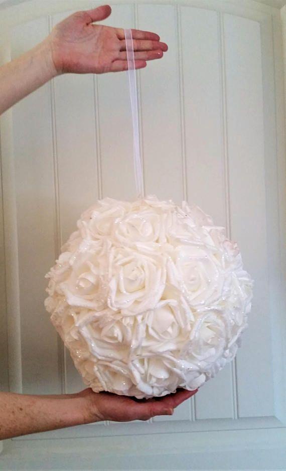 36/93cm Single white foam with silver glitter flower