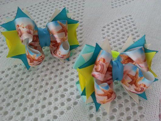 """Детская бижутерия ручной работы. Ярмарка Мастеров - ручная работа. Купить Американские бантики """" Морская звезда"""". Handmade. Море"""
