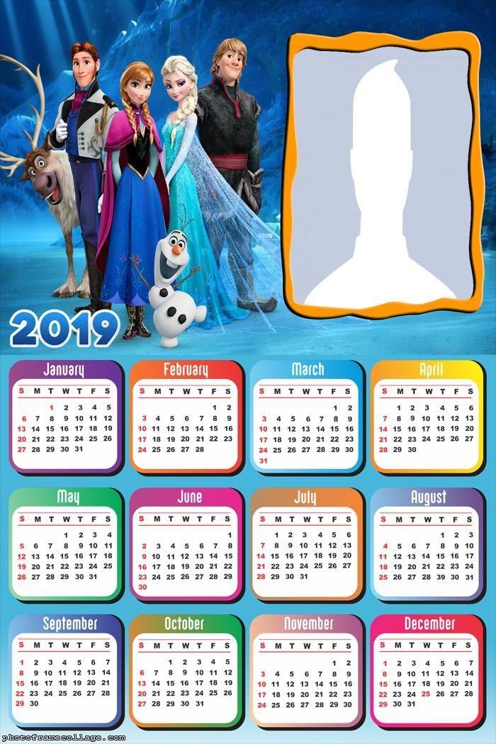 Frozen December Calendar 2019 Printable Characters Frozen Movie Calendar 2019 Frame Photo Montage Free
