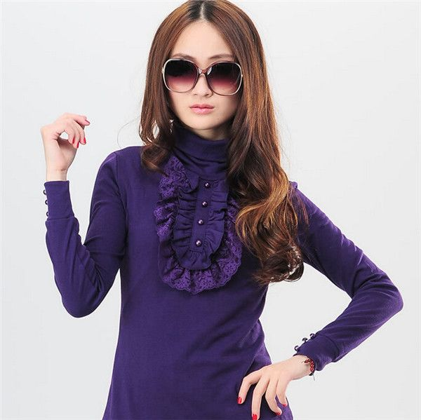 Tropical 2015 Plus Size S-4XL Spring Casual Women Sweater Turtleneck Lace Ruffles Pullover Brands Winter Woman Jumper 30357