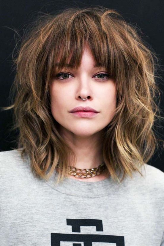 Messy Shag #bangs #wispybangs ? Want to go for stylish wispy bangs? Our short soft fringes for long hair shoulder length bob with layers and thin side...