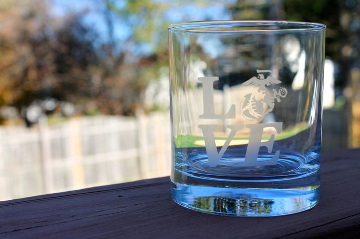 Marine Corps Glass Girlfriend  usmc love by AmyJaneBeauty on Etsy