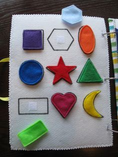 The Quiet Book Blog: Jill's Quiet Book - love the shape page, apple tree page and the barn page.