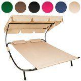 TecTake 2 places bain de soleil chaise longue de jardin transat avec pare-soleil  2 coussins - diverses couleurs au choix - (Beige   no. 401223)