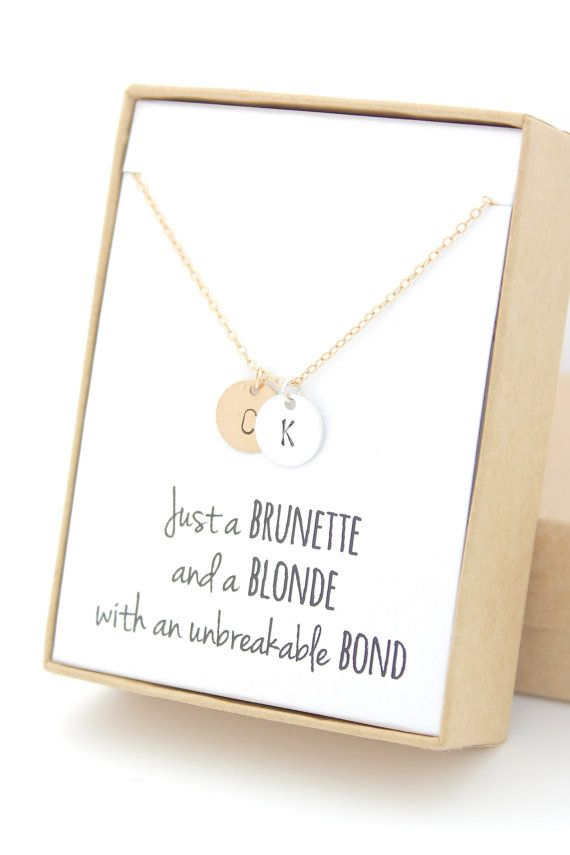 Gold & Silver Two Monograms Disc Necklace - Initial Friendship Necklace -Gold Personalized Necklace -Gifts For Friends - Bridesmaid Gift