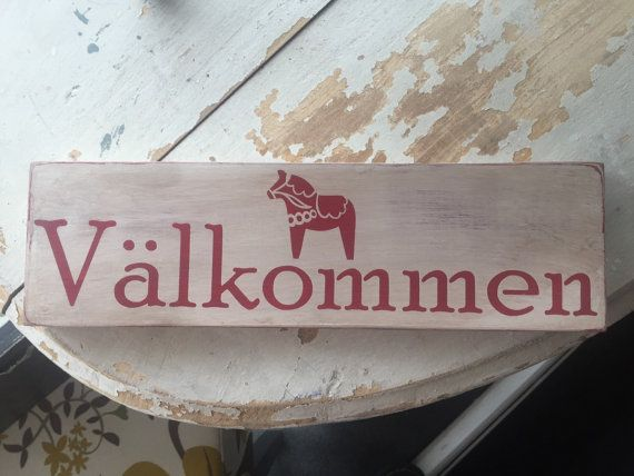 Hand painted primitive vintage sign. Welcome in Swedish; Valkommen. Includes the…