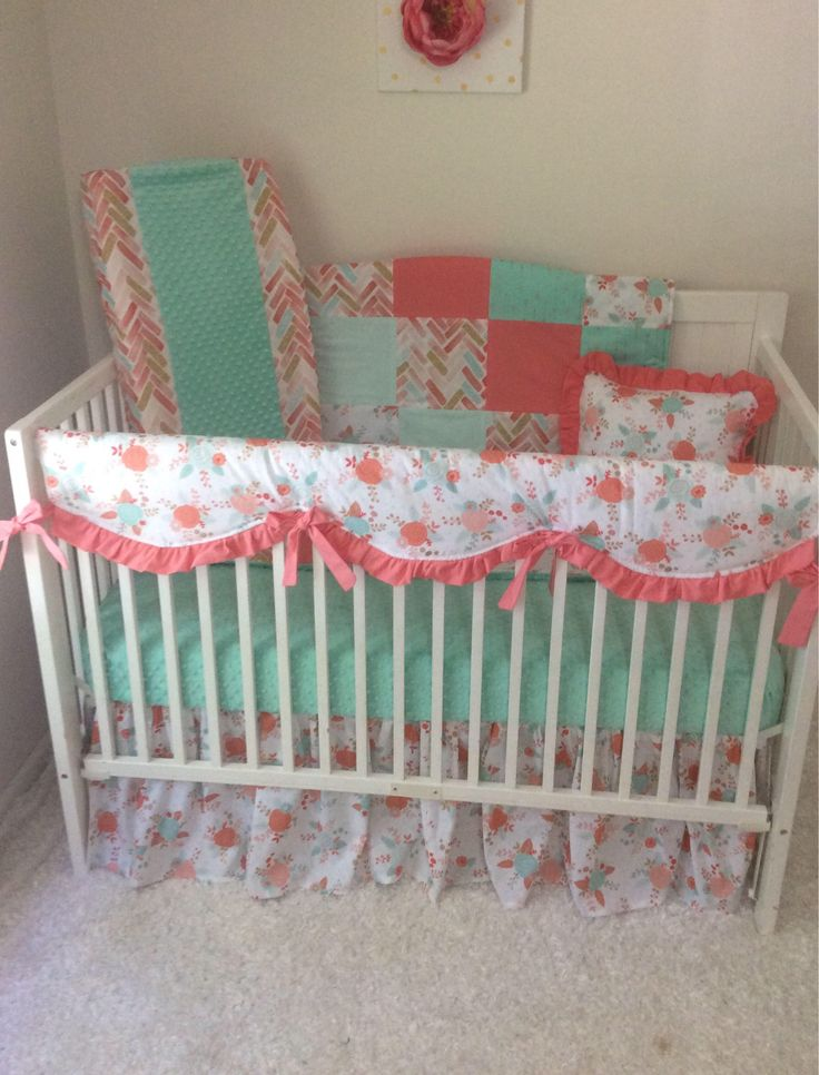coral mint and gold crib bedding set baby girl sparkle arrows watercolor floral bumperless made to order