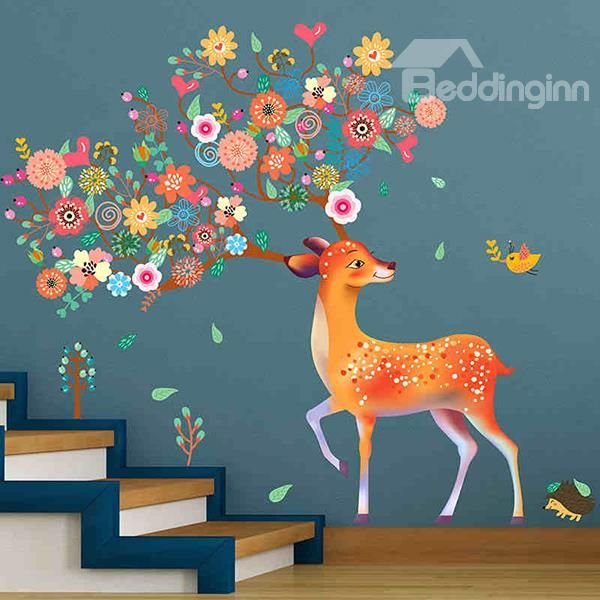 Amusing Floral Deer Pattern Home Decorative Wall Stickers ...