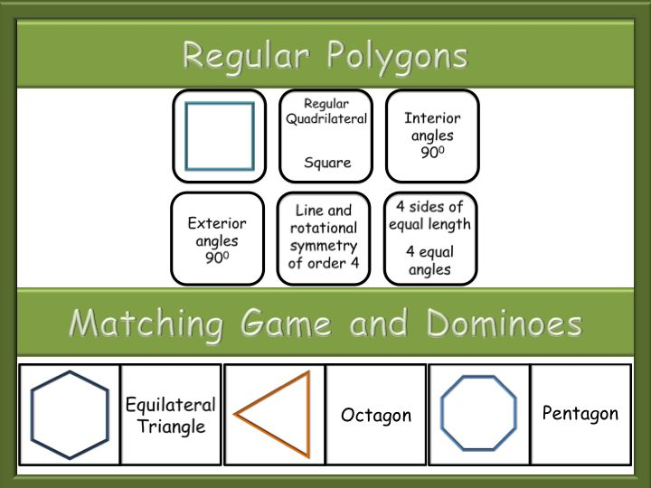 Regular Polygons -  Matching game - Dominoes