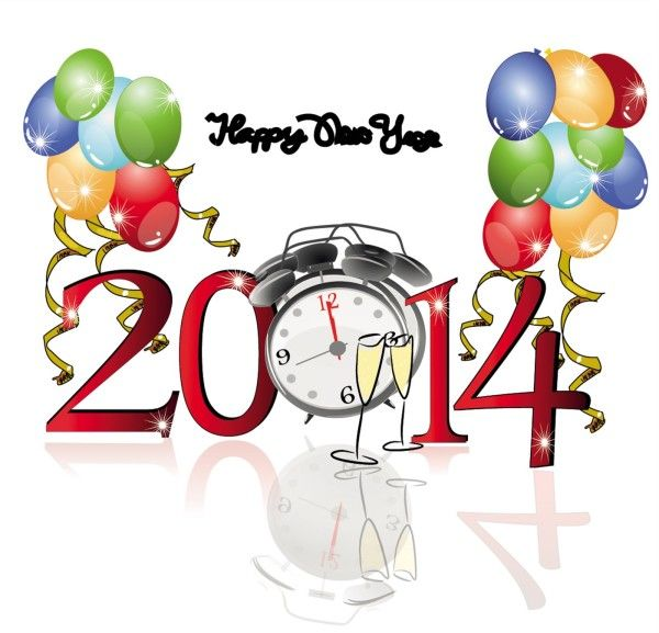 happy new year 2014 clip art | New Year With Balloons And Clock