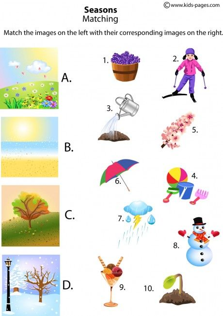The Four Seasons Matching worksheets http://www.kids-pages.com/folders/worksheets/Nature/SeasonsMatching.pdf