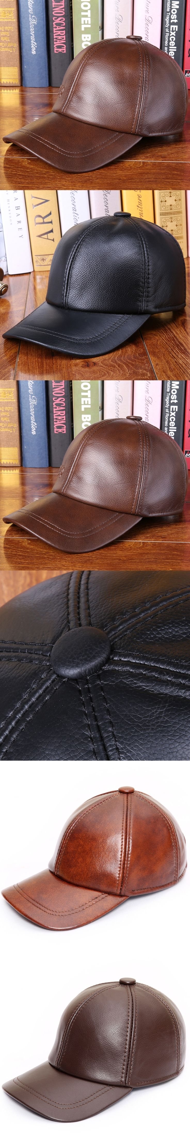 New Arrival Genuine Leather Baseball Cap Adult Autumn and Winter Outdoor Leather Cap Male Wind Proof Peaked Cap B-0608