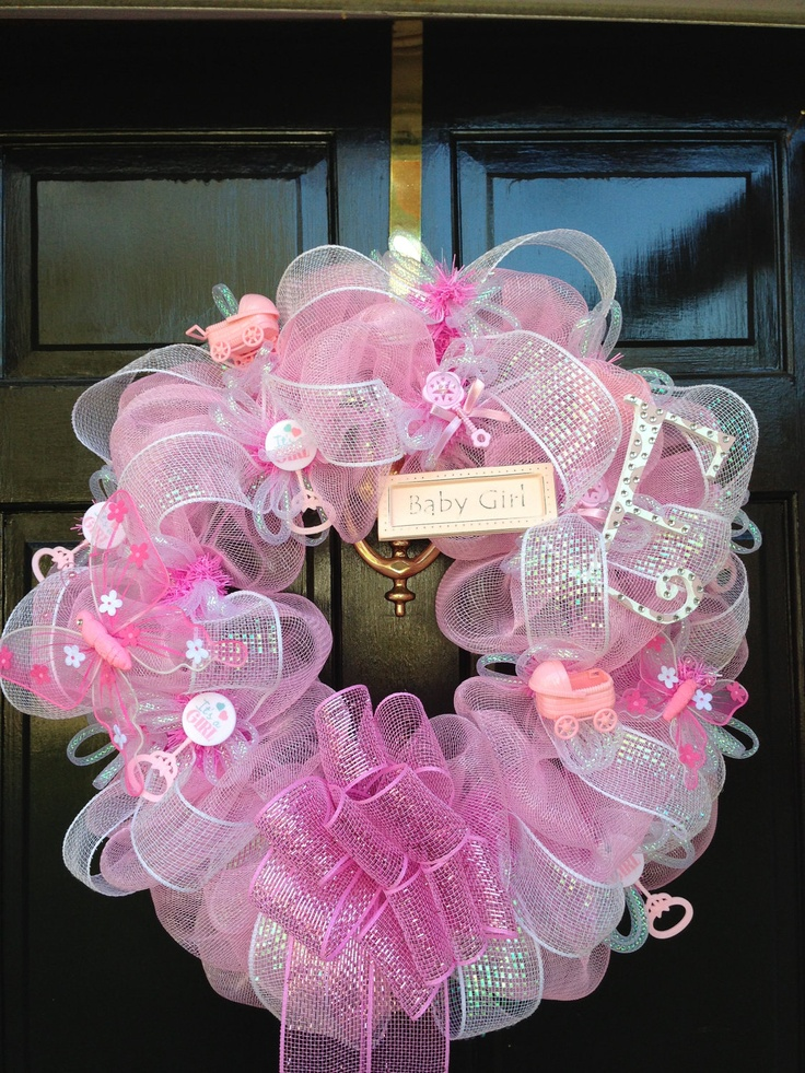 PERSONALIZED  deco mesh BABY GIRL wreath. $90.00, via Etsy.