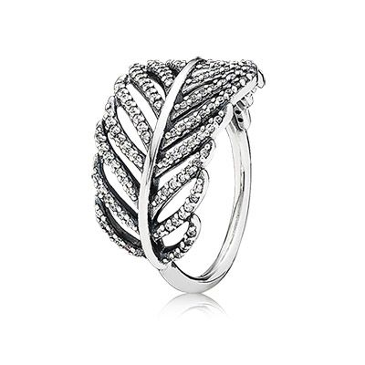 PANDORA stunning feather ring in sterling silver with 138 pavé set clear cubic zirconia stones. $80 #PANDORAring